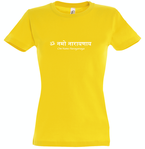 NEW! Women's Standard Cotton Slim Fit Yellow T-shirt - Om Namo Narayanaya
