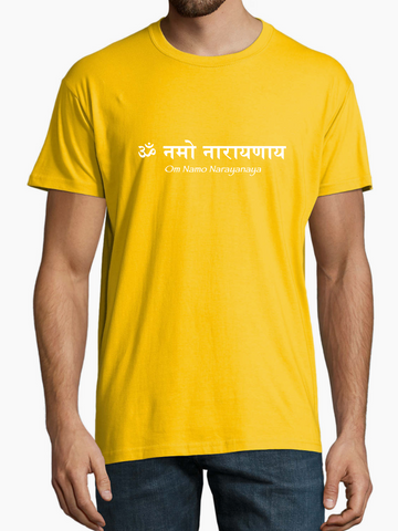 NEW! Men's Unisex Standard Cotton Yellow T-shirt - Om Namo Narayanaya