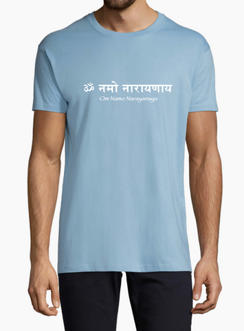 NEW! Men's Unisex Standard Cotton Light Blue T-shirt - Om Namo Narayanaya