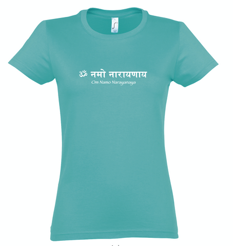 NEW! Women's Standard Cotton Slim Fit Caribbean Green T-shirt - Om Namo Narayanaya