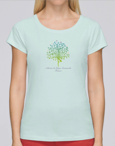 100% Organic Cotton Caribbean Blue Women's T-shirt (Ashram Tree)