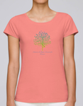 T-shirt 100% coton bio rose flamant rose pour femme (Ashram Tree)