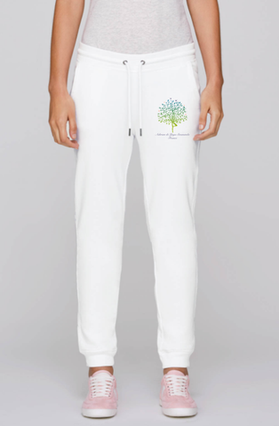 Organic Cotton White Woman Yoga Traditional Trousers with Ashram Tree