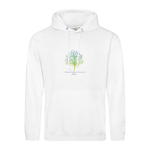 NEW! Unisex Hoodie Sweatshirt with Ashram Tree - White