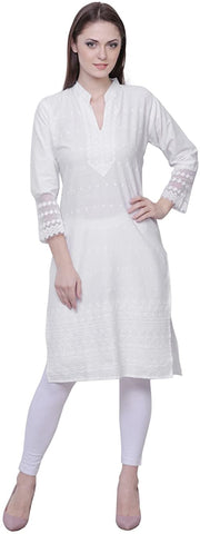 Women's White Chikankari Embroidered Kurta (WK24)
