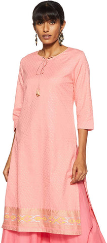 Woman's Peach with Gold Pattern Kurta (KF41)