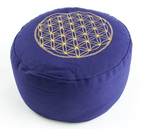 """Flower of Life"" Round Meditation cushion with handle loop 15 cm round *3 colours*"