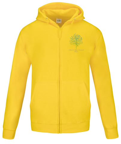 Yellow Zip Hoodie Unisex Jacket with Ashram Tree