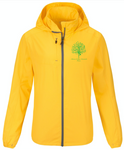 Yellow Zip waterproof female Jacket with Ashram Tree