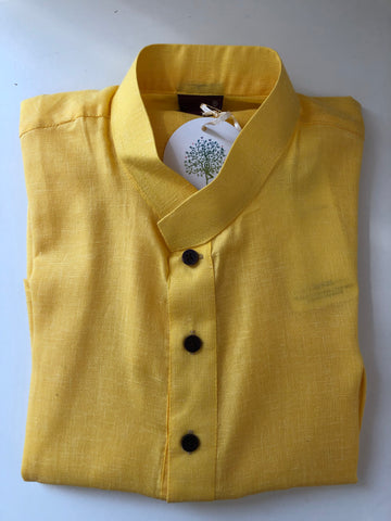 Men's Yellow cotton kurta top HL12