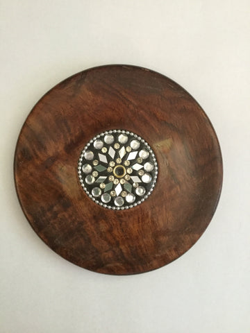 Wood incense holder - round
