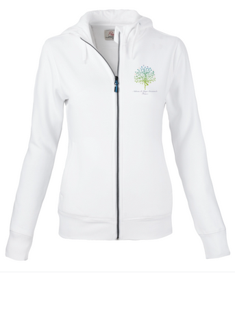 Female White zip Hoodie Jacket with Ashram Tree