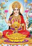 Lakshmi Sitting on Gold Seat Extra Thick Postcard