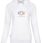 White Hoodie Female Sweatshirt with Om Namo Narayanaya Lotus