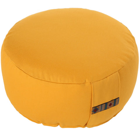Meditation cushion round with decorated handle loop 10 cm height *4 colours*
