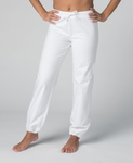 Organic Cotton White Woman Yoga Trousers