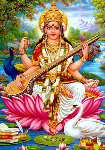 Saraswati Blue background Extra Thick Postcard
