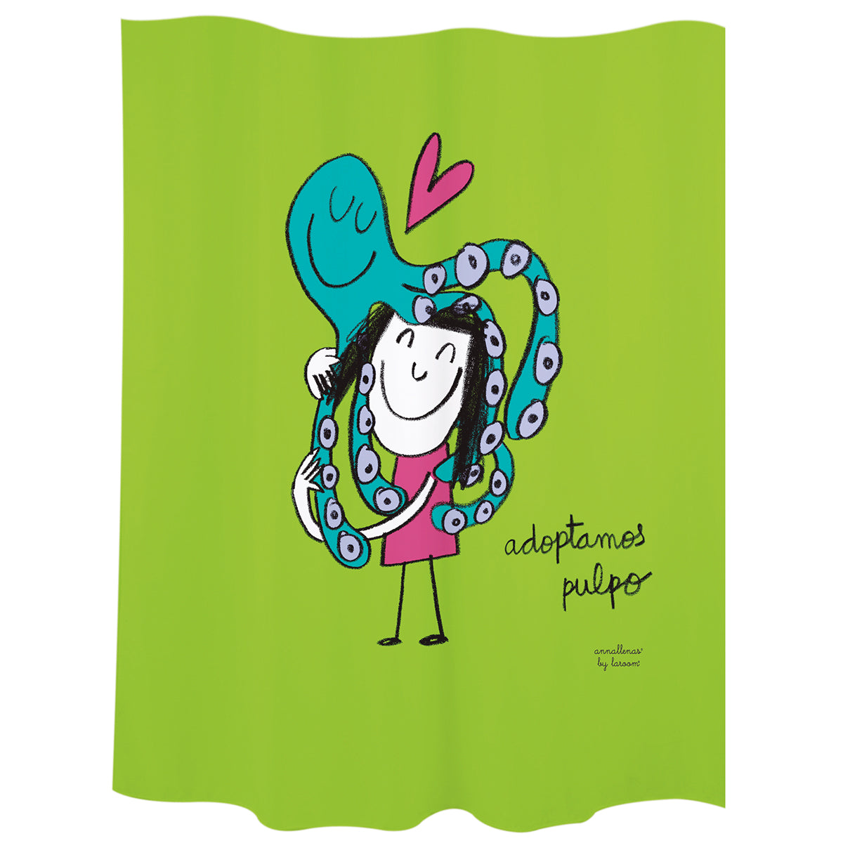 "Bath curtain ""adoptamos pulpo"" green polyester"