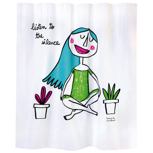 "Bath curtain ""listen to the silence"" white polyester"
