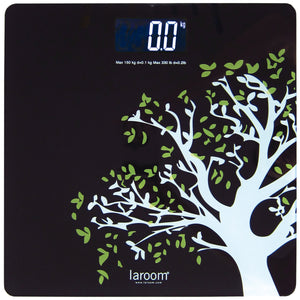 "Bath Scale ""tree"" black with white back-lit LCD and lithium battery"