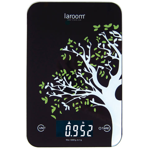 "kitchen scale ""tree"" black with backlit LCD, tare, and lithium battery (with wall hanger)"