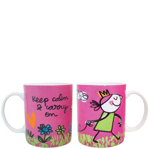 "Taza ""keep calm & carry on"" fucsia"