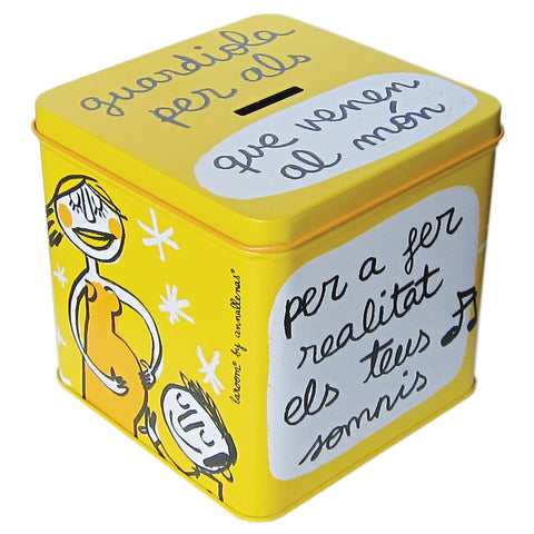 "Metal coin box ""per als que venen"""