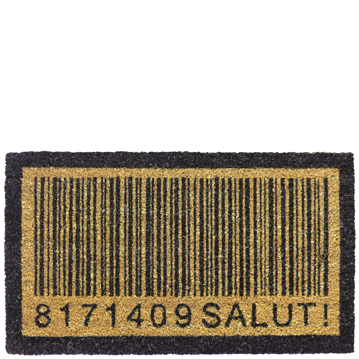 "Doormat ""code barre - salut!"" brown"