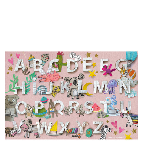 "Vinyl mat for kids ""Abecedary"" pink"