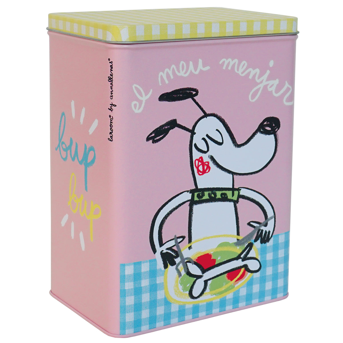 "Metal box ""el meu menjar"" for dogs small pink"