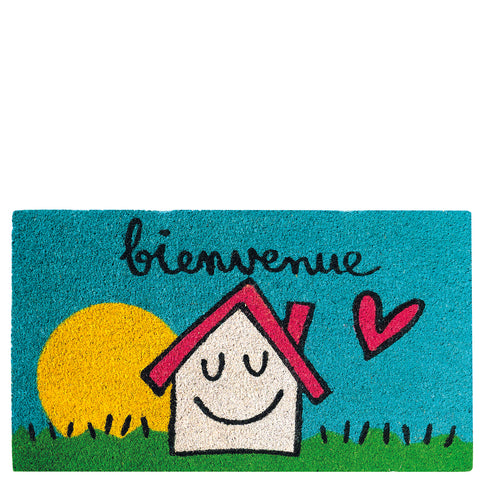 "Doormat house & sun ""bienvenue"""