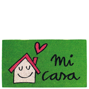"Doormat house & sun ""mi casa"" green"