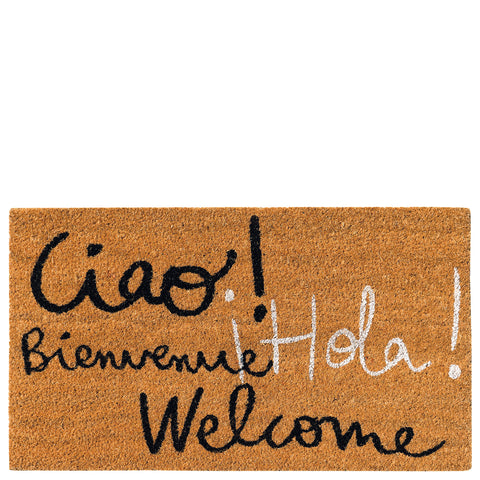"Doormat ""ciao! Bienvenue hola welcome"" brown"