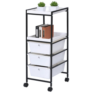 Utility Cart with 2 shelves & 3 drowers white with wheels