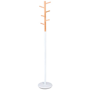 Coat stand satin white with wooden hanger