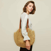 Load image into Gallery viewer, Addie boho straw tote bag