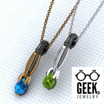 Geek Dot Jewelry Necklace The Sonic-Solitare Pendant, Sci Fi Jewelry, Doctor Who Pendant Sonic Screwdriver Pendant,