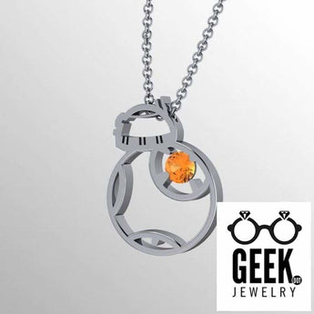 Geek Dot Jewelry Pendants & Charms BB Flat Pend, BB8 inspired pendant Sterling silver and Citrine