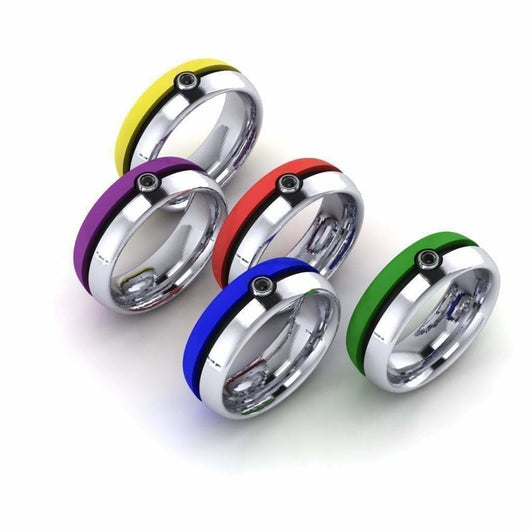 Geek Dot Jewelry Ring Color Poke Ball Band  -GENTS