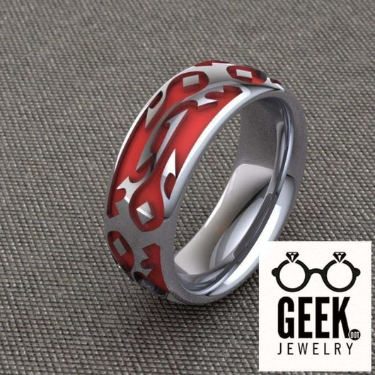 Geek Dot Jewelry Ring Commited to the Horde Band-  Ladies