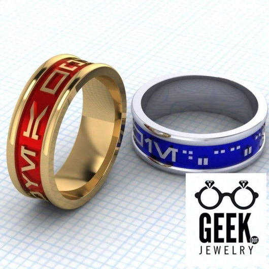 Geek Dot Jewelry Ring Custom Aurebesh Bands- Gents