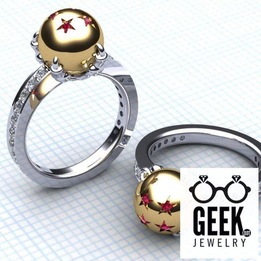 Geek Dot Jewelry Ring Dragon and Her Ball Ring- Ladies