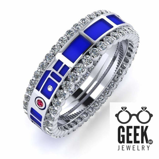 Geek Dot Jewelry Ring Droid Head Band Diamonds - Ladies