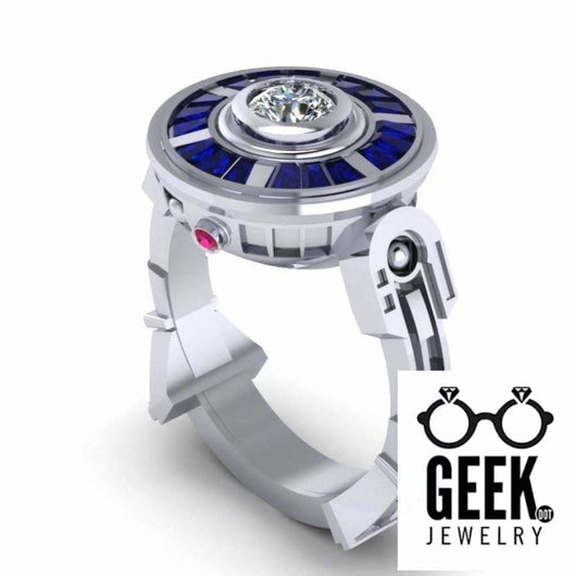 Geek Dot Jewelry Ring Droid LTE - 14 Karat White Gold, Diamond Center