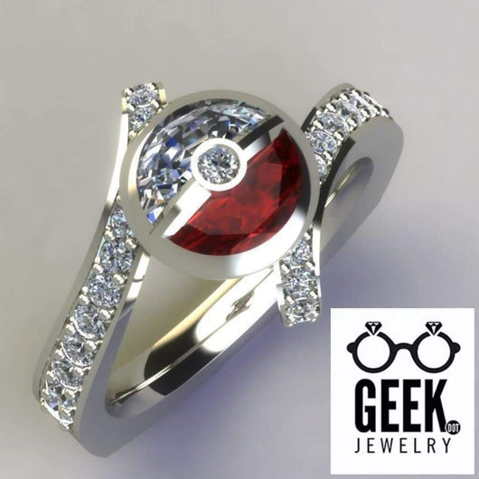 Geek Dot Jewelry Ring Having a Ball and Holding a Ball!-  Ladies