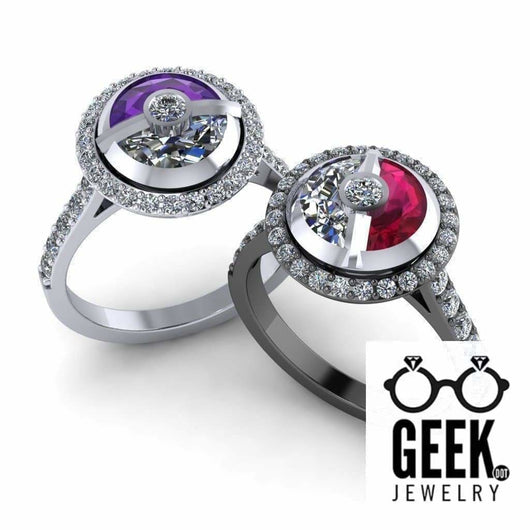 Geek Dot Jewelry Ring Having a Ball Kinetic Halo Edition ! Yes it spins!!!!! -  Ladies