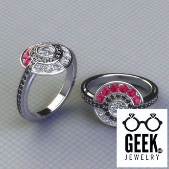 Geek Dot Jewelry Ring Poke Engagement Ring with Real Gems!