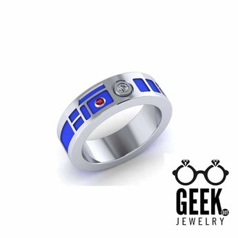 Geek Dot Jewelry Ring R2 Head Wedding Band - Plain Sides- Gents - Precious Metals