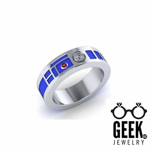 Geek Dot Jewelry Ring R2 Head Wedding Band - Plain Sides Ladies Precious Metals