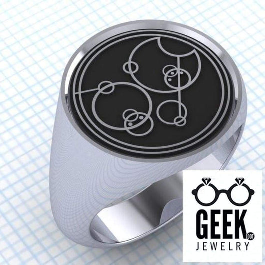 Geek Dot Jewelry Ring Say Who? Gallifreyan Custom Signet - Gents
